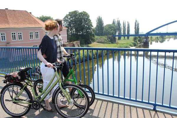 Blick von der Weserbrücke in Hoya